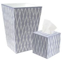 Allen G. Designs White Trellis Design on a Blue Wastebasket and Tissue Box Set
