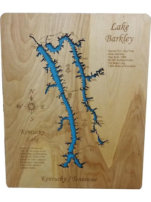 CUSTOM laser cut engraved detailed wooden lake maps