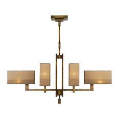 Fine Art Lamps 734040ST Perspectives Golden Bronze 6 Light Chandelier