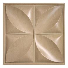 "24""x24"" Petal White Ceiling Tiles, Set of 5, Sandal Wood"