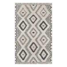 "Novogratz by Momeni Indio Sierra Hand Made Wool Black Area Rug, 7'6""x9'6"""