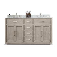 Grace Mid-century Bathroom Vanity with Sink, Carrara Marble Top, Antique Gray, 6