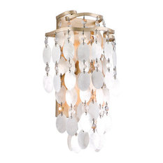 Dolce Wall Sconce Champagne Leaf Finish, Capiz Shell Crystal Shade