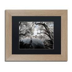 "Philippe Hugonnard 'White Foliage' Art, Birch Frame, Black Matte, 14""x11"""