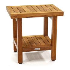 """The Original 18"""" Spa™ Teak Shower Bench with Shelf"""