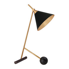 Cleo Table Lamp, Bronze with Antique-Burnished Brass