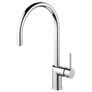 Rhythm Kitchen Mixer Tap, Curved, High Gloss Stainless Steel