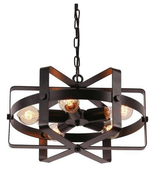 Metal Drum Pendant Light With 5 Lights, Vintage Black