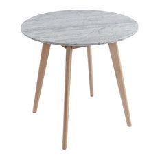 "Avella Round Italian Carrara White Marble Dining Table with Oak Legs, 31"""
