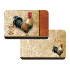 Reversible Plastic Wipe Clean Placemats, Signature Rooster, Set of 4