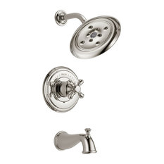 Delta Faucet Cidy Polished Nickel Tub And Shower With Cross Handle Valve D1476v