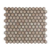 "SomerTile 13.25""x11.875"" Hudson 1"" Hex Porcelain Mosaic Tile, Truffle"