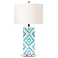Baxton Studio Rowen Diamond Pattern Ceramic Table Lamp in Turquoise and White