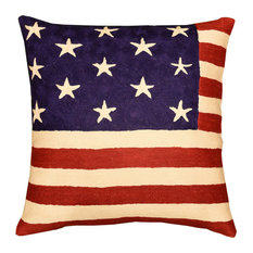 American Flag Pillow Cover Union Jack Wool Hand Embroidered Wool 18x18""