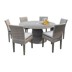 """Oasis 60"""" Outdoor Patio Dining Table with 6 Armless Chairs"""
