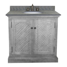 """inFurniture Inc., - Single Fir Sink Vanity Driftwood With Polished Surface Granite Top, 36"""", Gray - Bathroom Vanities and Sink Consoles"""