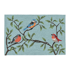 "Liora Manne Ravella Birds On Branches Indoor/Outdoor Rug, Blue, 24""x36"""