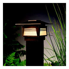 Zen Garden Low Voltage 1-Light Deck Post Lamp Olde Bronze Amber Seedy Glass