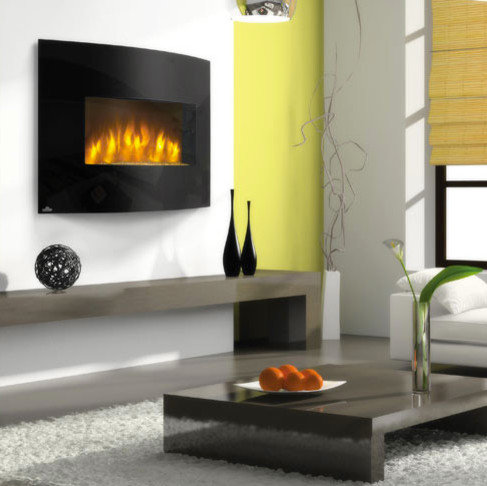 Napoleon - Napoleon 32-Inch Curved Black Wall Mount Electric Fireplace -  EFC32H - Indoor - Wall Mounted Electric Fireplaces