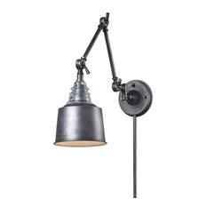 Insulator Glass 1-Light Swing Arm Sconce, Weathered Zinc