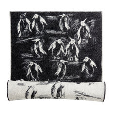 Penguins Wool Rug, 97x225 cm