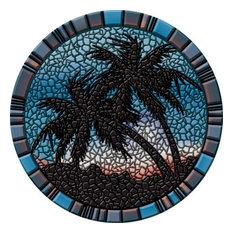 "Drop-In Palm Trees Vinyl Swimming Pool Mat (29"" x 29"", Blue)"
