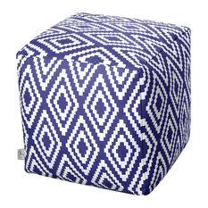 Ela Modern Cotton Pouffe, Blue and White