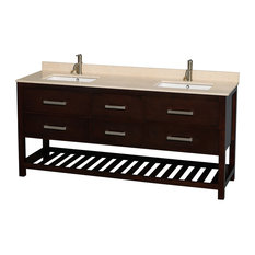 "Natalie 72"" Double Bathroom Vanity Espresso Ivory Marble Top, Square Sinks, No M"