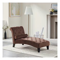 Tufted Top Chaise Lounge, Brown
