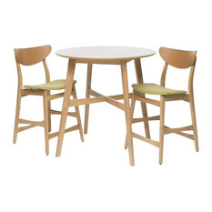 GDF Studio Helen Dark Fabric/Wood Counter Height Dining Set, Oak/Green Tea
