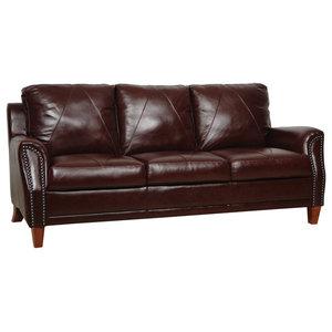 Coaster Dark Brown Tri Tone Leather Sofa Traditional