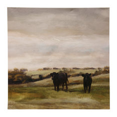 Cattle Graze Ii, Stretched Canvas, Hand Embellished, Traditional Farmhouse Print