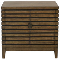 2-Door Grooved Chest, Black and Brown