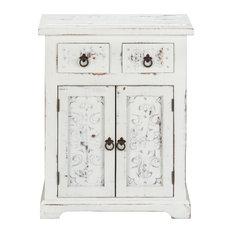 Wooden Loft Carved 2-Drawer 2-Door Cabinet White Distressed