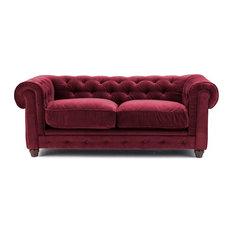 Burgundy Red Velvet Chesterfield Sofa - two seat