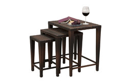 GDF Studio 3-Piece Mayall Nested Outdoor Tables, Set, Multibrown