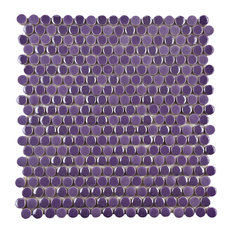 """11.75""""x11.75"""" Andromeda Penny Round Porcelain Mosaic Wall Tile, Purple"""