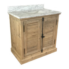 Wendell Single-Sink Bathroom Vanity With Carrara White Marble Top, 36""