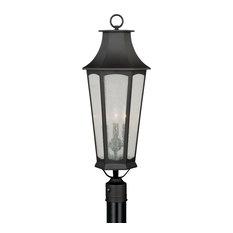 Preston 3L Dusk to Dawn Bronze Outdoor Empire Post Light Clear Glass