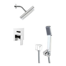 """Chrome Shower System With 9"""" Rain Shower Head and Hand Shower"""