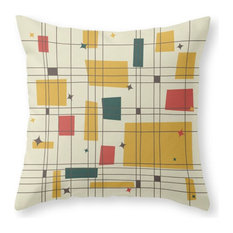 "Mid-Century Modern Pillow Cover, 18""x18"" With Insert"