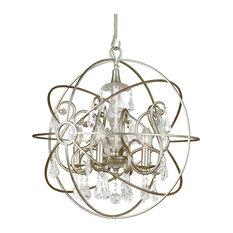Crystorama Solaris 5 Light Crystal Silver Sphere Chandelier