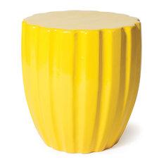 Scallop Ceramic Stool, Yellow