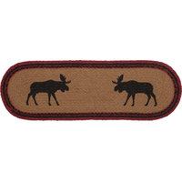 "Rustic Tabletop Kitchen Shasta Cabin Moose Runner Jute Oval, 8""x24"""