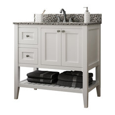 "Vanguard Bathroom Vanity With Open Shelf Bottom, White, 36"", Drawers on Left"