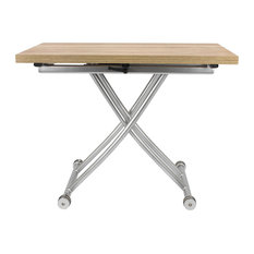 Transforming X Coffee and Dining Table, Light Wood Finish