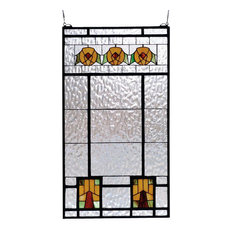 "18""Wx32""H Aurora Dogwood Stained Glass Window"