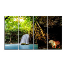"""Tiger Watching Waterfall"" Landscape Photography Canvas Print, 48""x28"", 4-Piece"