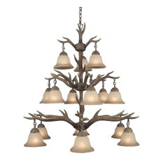 Rustic 15-Light Buckhorn Antler Chandelier