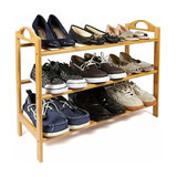 Traditional Shoe Rack, Natural Bamboo Wood With 3 Tiers, Handles on Each Side